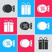 Set Signboard Hanging, Gift Box And Signboard Hanging With An Inscription Discount Percent Icon. Vec poster