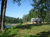picture of cariboo  - Original restored cabin at a Cariboo river - JPG