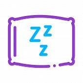Cozy Pillow For Sleeping Icon Vector. Outline Cozy Pillow For Sleeping Sign. Isolated Contour Symbol poster