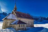 Hdr Photo Of Melchtal Chapel Between Swiss Alps In Winter, Switzerland poster