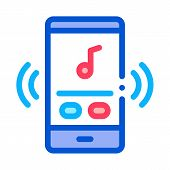 Phone Music Audio Player Icon Vector. Outline Phone Music Audio Player Sign. Isolated Contour Symbol poster