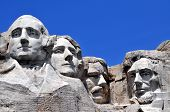 Mount Rushmore National Memorial in South Dakota features sculptures of former U.S. presidents Georg