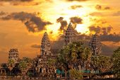 Angkor Wat Temple On Sunset
