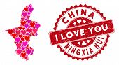 Love Collage Ningxia Hui Region Map And Grunge Stamp Seal With I Love You Text. Ningxia Hui Region M poster