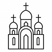 Christian Church Icon. Outline Christian Church Vector Icon For Web Design Isolated On White Backgro poster