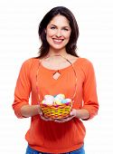 Woman with Easter eggs. Isolated on white background.
