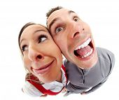 stock photo of distort  - Funny people portrait fisheye caricature - JPG