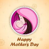 illustration of mother embracing child in Mother's Day Card
