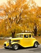 foto of rebuilt  - classic car in the countryside in autumn - JPG