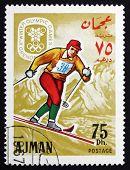 Postage Stamp Ajman 1967 Ski Cross-country, Winter Olympics