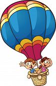 Cartoon kids riding a hot air balloon. Vector clip art illustration with simple gradients. All in a