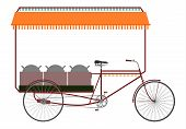 picture of rickshaw  - Carrier bicycle rickshaw silhouette on a white background - JPG