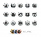 Book Icons // Metal Round Series --- It includes 4 color versions for each icon in different layers-