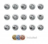 Documents Icons - 2 of 2 // Metal Round Series --- It includes 4 color versions for each icon in different layers---