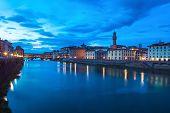 Ponte Vecchio Landmark On Twilight, Old Bridge, Arno River In Florence.