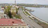 De weergave van de bodem Embankment van Angara rivier in Irkoetsk
