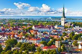 stock photo of red roof  - Scenic summer aerial panorama of the Old Town in Tallinn Estonia - JPG