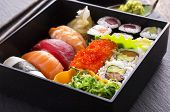 pic of masago  - bento box with sushi and rolls - JPG