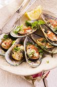 mussels baked with cheese and herbs