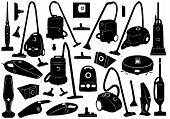 Set of different vacuum cleaners