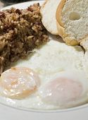 Nicaraguan Style Fried Eggs Breakfast With Rice And Bean Gallo Pinto Photographed In Big Corn Island
