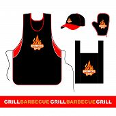 stock photo of gril  - Barbecue and grill set design - JPG