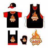 image of gril  - Grill party set design - JPG