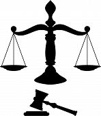 stock photo of libra  - Black silhouette of scales of justice with gavel - JPG