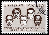 Postage Stamp Yugoslavia 1961 Men Of Five Races