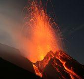 Erupting volcano Stromboli