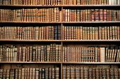 stock photo of vintage antique book  - Old books in the library of Stift Melk - JPG