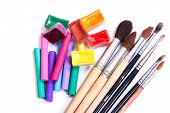 Brushes, Pastel And Water Color Paints