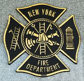 FDNY emblem on fallen officers memorial in Brooklyn, NY