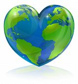 picture of globe  - A conceptual illustration for loving the world the globe in the shape of a love heart - JPG