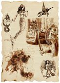 stock photo of perseus  - A large series of mystical creatures on an old sheet of paper  - JPG