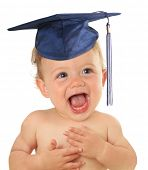 stock photo of baby toddler  - Adorable ten month old baby wearing a graduation mortar board - JPG
