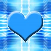 Glowing Blue Heart On Abstract Background