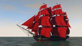 stock photo of sloop  - ship in the ocean - JPG