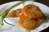 Latkes With Apple Sauce And Green Onion
