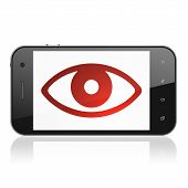 Privacy concept: Eye on smartphone