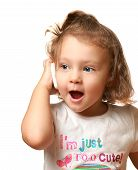 Happy Baby Girl Talking On Mobile Phone Isolated On White Background