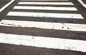 White Painted Lines On Roadway Denoting Pedestrian Crossing