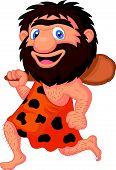 stock photo of caveman  - Vector illustration of Funny caveman cartoon isolated on white background - JPG