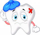 Sick tooth cartoon