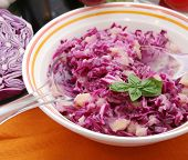 salad of red cabbage and potatoes