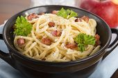pic of carbonara  - Pasta Carbonara with bacon and parmesan cheese - JPG
