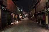 Shinbashi-dori Street In Gion District In Kyoto, Japan.