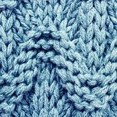 Blue knitted sweater wool texture