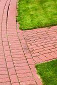 Stone Pathway In Garden, Brick Sidewalk