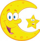 stock photo of crescent  - Smiling Crescent Moon And Happy Little Star Cartoon Characters - JPG